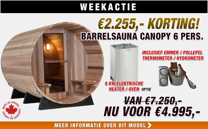 Almost Heaven Barrelsauna Canopy weekactie
