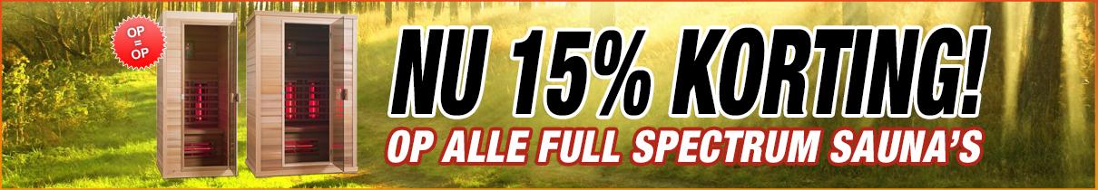 NU 15% korting op alle Full Spectrum sauna's
