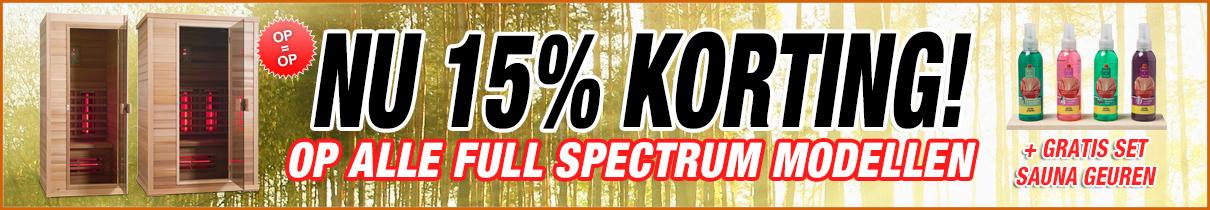 15% korting op alle Full Spectrum Sauna's